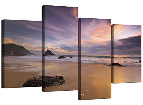 Canvas Prints of a Beach Sunset for your Kitchen - 4 Panel Modern Seascape Wall Art - 4198 - WallfillersÃ'® by Wallfillers