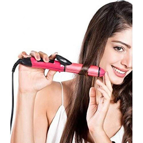 Selinta 2-in-1 Ceramic Plate Essential Combo Beauty Set of Hair Straightener and Curler for Women (Pink)
