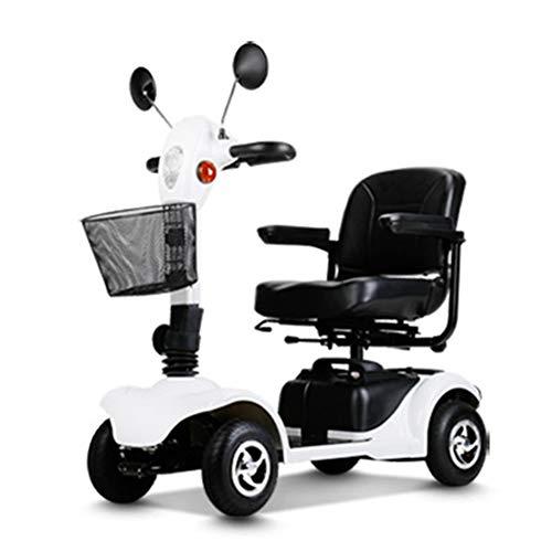 HOPELJ Elektroroller Auf 4 Rädern,Elektrischer Rollstuhl Faltbar 250W 20AH 6.2Mph 18.6 Meilen Reichweite,White,Leadacidbattery