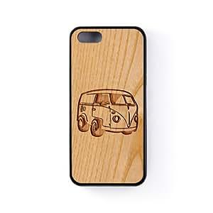 Carved on Wood Volkswagen Coque Silicone Noire Snap-On Protection Arrière Caoutchouc pour Apple® iPhone 5 / 5s de Chargrilled + Livré avec une protection d'écran GRATUITE