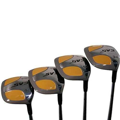 SV3 Yellow Square Woods XL Big & Tall Senior Men's (+2'' Longer Than St&ard Length) SV3 Yellow Square Fairway 3 5 7 9 Wood Set Golf Clubs Right H&ed Senior Flex With Tacki-Mac Jumbo Arthritic Grips