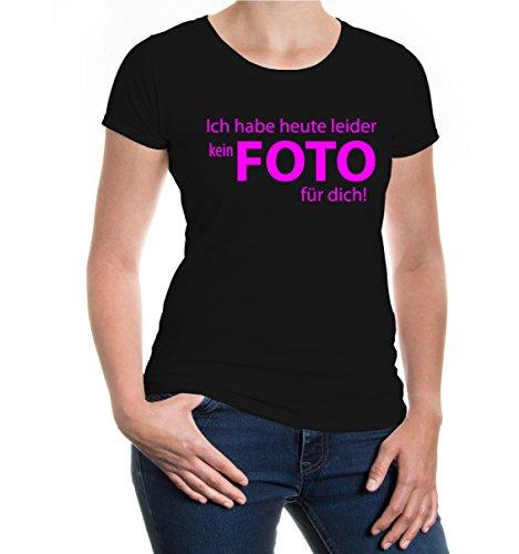 buXsbaum® Girlie T-Shirt Ich habe heute leider kein Foto für dich Black-Neonpink