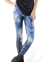 005404e2dcb4c WanYangg Leggings Femme Mode 3D Imprimer Galaxy Legging À Motif Skinny  Stretch Collant Extensible Galaxie Impression