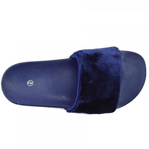 Kick Footwear - DONNA SLIPPER SLIP ON FLAT CURSORE MULI PELLICCIA CIABATTA SANDALI SCARPE Blu Royal