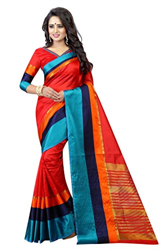 PerfectBlue Cotton Saree with Blouse Piece (I-00025_Red_Free Size)
