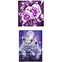 B Blesiya 2 St/ück 5D Diamant Full Malerei DIY Stickerei Painting Kreuzstich Diamond Home Wand Dekoration Tiger und Blume