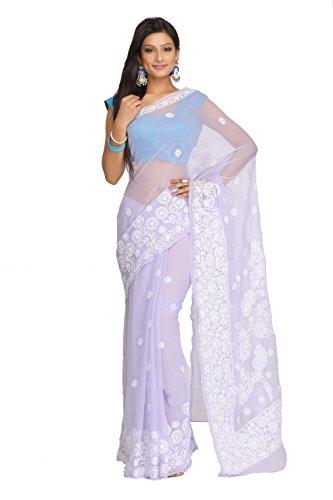 ADA Women's Faux Georgette Chikankari Ethnic Wear Saree (Mauve) A130118