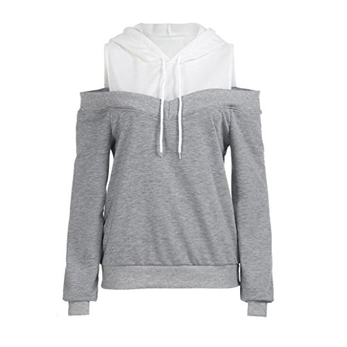JUTOO Womens Schulterfrei Langarm Hoodie Sweatshirt mit Kapuze Pullover Tops ()