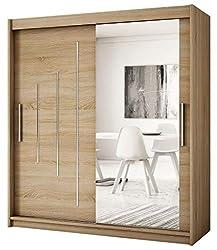 Kryspol Schwebetürenschrank York 2-200 cm mit Spiegel Kleiderschrank mit Kleiderstange und Einlegeboden Schlafzimmer- Wohnzimmerschrank Schiebetüren Modern Design (Sonoma)