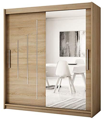 Kryspol Schwebetürenschrank York 2-150 cm mit Spiegel Kleiderschrank mit Kleiderstange und Einlegeboden Schlafzimmer- Wohnzimmerschrank Schiebetüren Modern Design (Sonoma)