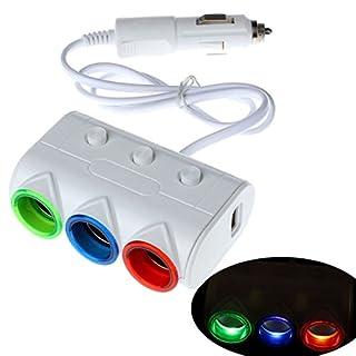 Atdoshop 2 USB Cigarette 3 Way Car Lighter Socket Splitter Charger Power Adapter