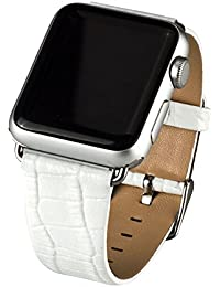 Cuitan Durable Cuero Watch Band para 42mm Apple Watch iWatch, Cocodrilo Patrón con Adaptador Acero Hebilla Banda Muñeca Correa de Reloj Reemplazo Reloj Muñeca Band Watchband Strap Watchband para Apple Watch - Blanco (No incluido Watch)