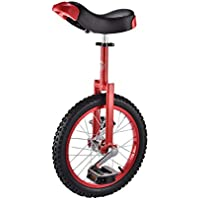 ZSH-dlc Monociclo 16/18 Pulgadas Solo Redondo para niños, Adultos, Altura Ajustable, Equilibrio, Ejercicio de Ciclismo, Rojo (Tamaño : 16 Inch)