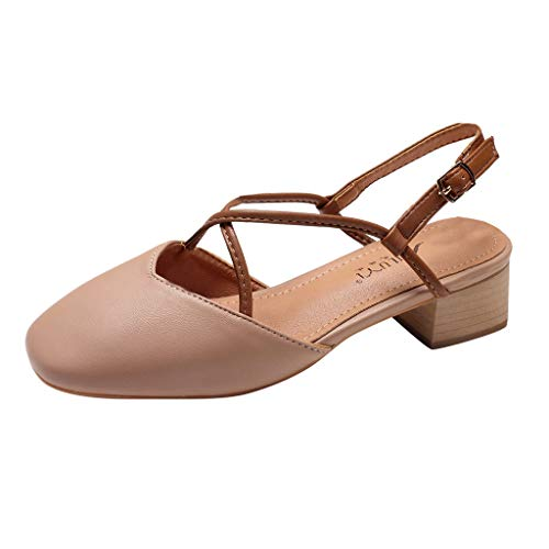 Quaan MidHeels für Damen mit Schnalle Student Schuhe Mode Wild Toe Dicker Absatz Sandalen