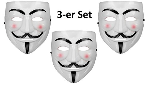 Oramics® VENDETTA Maske Mask Guy Fawkes Anonymous Replika Demo Anti -Karneval Maske Anti Acta Demo (3 Masken)