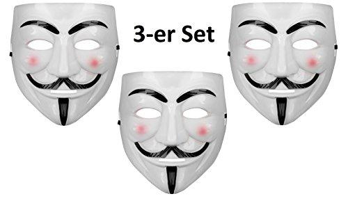 Oramics® VENDETTA Maske Mask Guy Fawkes Anonymous Replika Demo Anti -Karneval Maske Anti Acta Demo (3 Masken)
