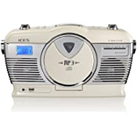 iCES ISCD-33 - Radio (2 W, reproductor CD, USB, pantalla LCD), blanco