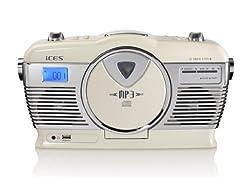 iCES ISCD-33 tragbares Retro-Radio mit CD/MP3-Player (USB) cremeweiß