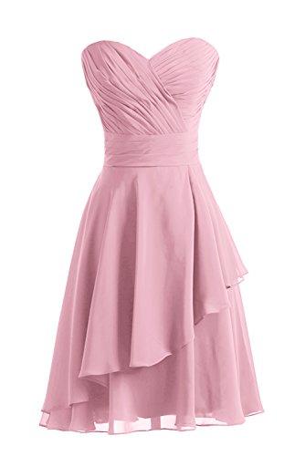 Gorgeous Bride Fashion Herz-Ausschnitt A-Linie Knielang Chiffon Abendkleid Festkleid Ballkleid Rosa