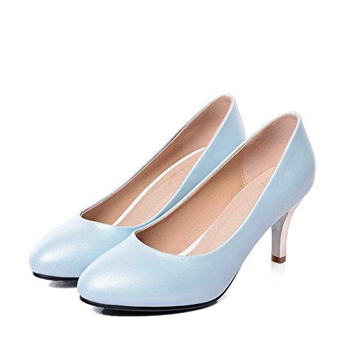 Légeres Femme VogueZone009 Chaussures Talon Bleu Rond Haut Tire Couleur à Unie pzwqR