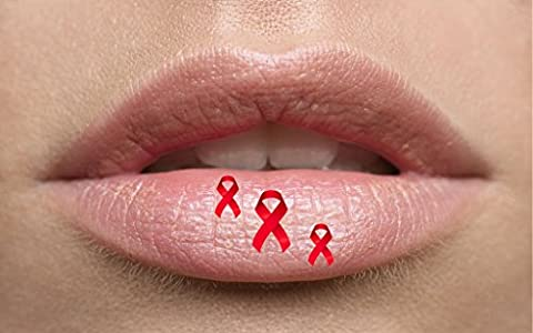 Red Ribbon Awareness Lip Tattoo Temporary lip. Ideal for parties,