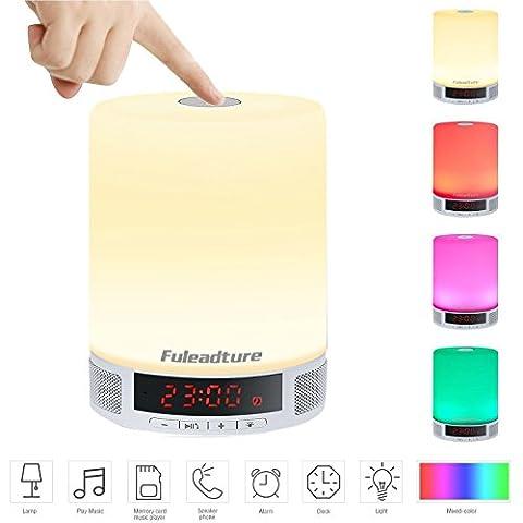 LED Bluetooth Lautsprecher, Fuleadture Multifunktions Intelligente Lampe Wecker Alarm Nachtlicht Stimmungslicht Atmosphäre Freisprecheinrichtung mit Mikrofon TF Karte Unterstützt Camping Home (Kreative Ipod Speaker)