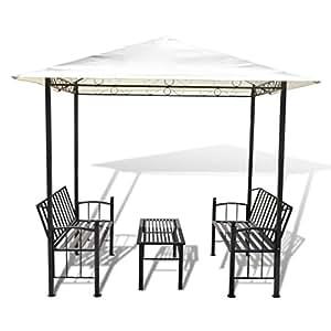 Vidaxl padiglione gazebo da giardino con tavolo e panchine for Panchine da giardino amazon