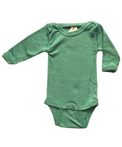 Baby Body langarm, 70% Wolle (kbT) und 30% Seide, Engel Natur (50/56, Eisvogel)