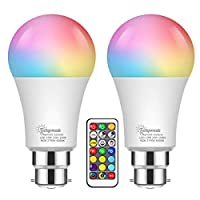 2X 10W Color Changing Light Bulb, Techgomade A60 B22 RGBW+Cool+Warm White RGB Light Bulbs, 60W Equivalent, 900LM, Dual Memory, Remote Control Multicolour LED Bulbs for Home Decor, Mood Lighting, Party