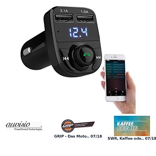 auvisio Radio Transmitter: 3in1-Kfz-FM-Transmitter, Freisprecher m. Bluetooth, Ladegerät, mit App (USB Transmitter)
