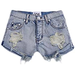 Women 's Hole Delgado Hippie Loose Denim Shorts Blue L