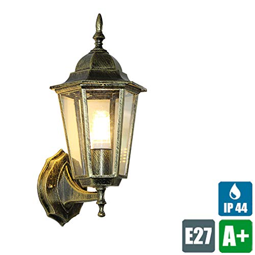 Veranda Wandleuchte Retro Außenwandleuchte Außenlampe Antik Bronze Wandlampe Vintage Aussenlampen Wand-Licht für Balkon Garten Garage Aisle, 1× E27- Fassung, Glas Lampenschirm Wasserdichter IP44 - Glas-antike Bronze Ein Licht