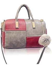 FemmeStopper Latest Designer Shoulder Handbag Fashion Patchwork Pillow Red And Grey Handbag