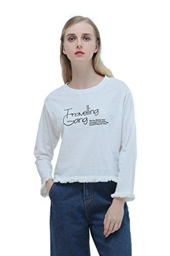 Eyekepper Pull Manches longues col rond demoiselle femmes Chemisier imprime avec le mot Travelling Gang Blanc
