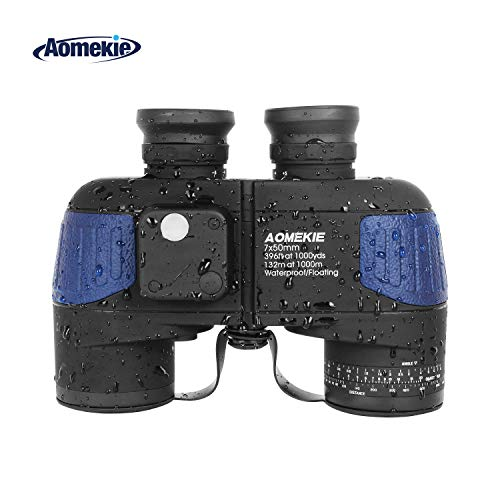 Aomekie Fernglas mit Nachtsicht Entfernungsmesser und Kompass 7X50 Militär Fernglas Marine BAK4 FMC Wasserdicht für Kinder Erwachsene mit Tasche und Gurt