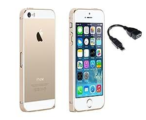 RealDealz Mattle Bumper For Apple Iphone 5G Gold + Otg Cable Combo Set