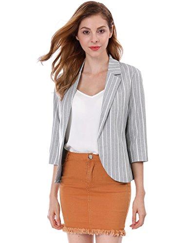 Allegra K Ladies' 3/4 Sleeves Open Front Notched Lapel Striped Blazer Jacket