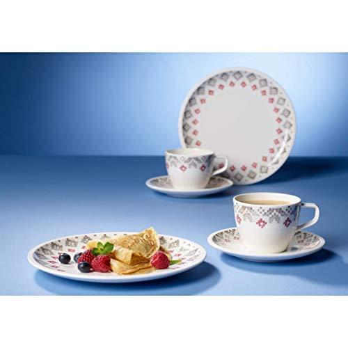 Villeroy & Boch Artesano Montagne Frühstücks-Set für 2 Personen, 6-teilig, Premium Porzellan, Weiß/Grau
