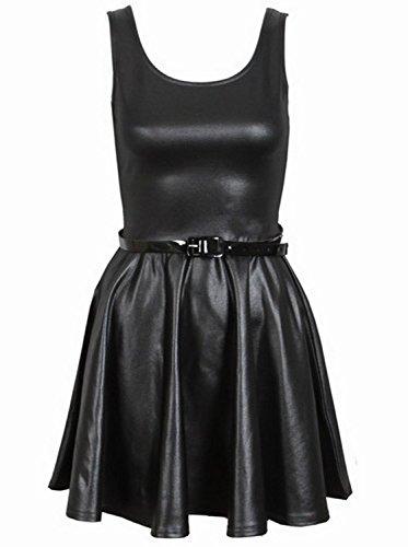 Nouveau Taille plaine de dames évasée plissée plus Belted Skater partie de robe 44-54 Wet Look
