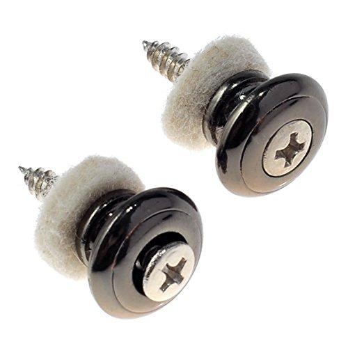 SUPVOX 2pcs Guitar Strap Lock Buttons Mushrooms Head per chitarra Ukulele Parts (Nero)