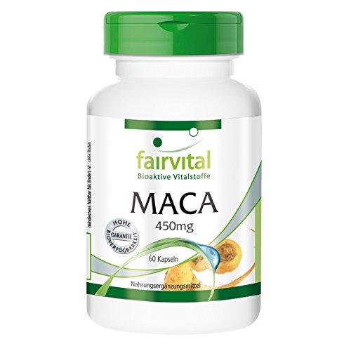 Maca 450 mg - para 1 mes - VEGANO - Alta dosificación - 60 Cápsulas - 4 veces extracto de raíz de concentrado