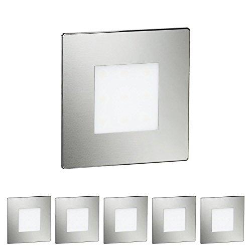 ledscom.de LED Treppen-Licht Stufenbeleuchtung, eckig, 8,5x8,5cm, 230V, warm-weiß, 6 STK. -