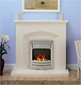 Modern Cream Brushed Steel Silver Electric Fire Surround Set Complete Fireplace Package Suite