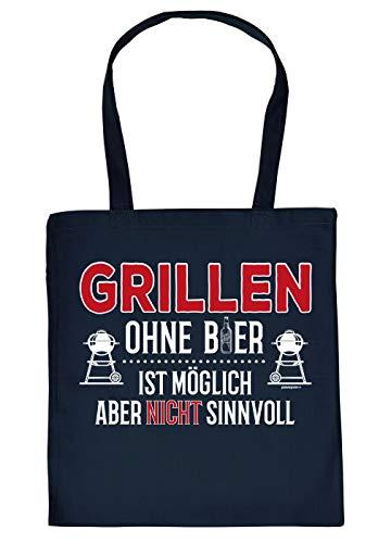 Griller-Tasche Grillzubehör - Tragetasche Grill-Party Motiv : Grillen ohne Bier ist möglich - Sinnvolles Grillzubehör