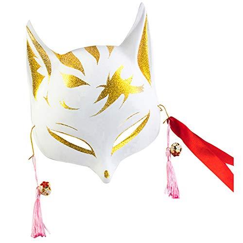 keland Erwachsene Fuchsmaske Gesichtsmaske Kind japanische Kabuki Maskerade Kostüm Maske Halloween Rollenspiel (gold) (Und Masken Maskerade Gold Weiß)