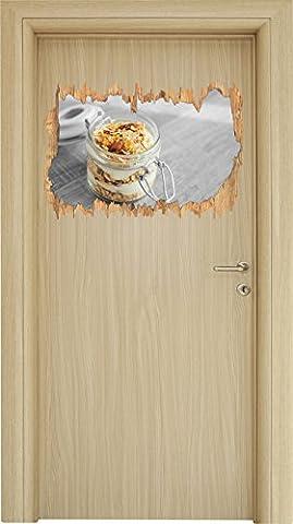 Leckeres Joghurt Müsli schwarz/weiß Holzdurchbruch im 3D-Look , Wand- oder Türaufkleber Format: 62x42cm, Wandsticker, Wandtattoo, Wanddekoration
