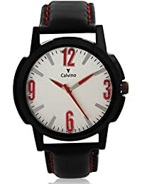 Calvino White Dial Analog Watch For Men/boys CHBCLS_176440-12369_BLK_WHT-RED