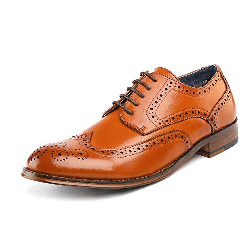 Bruno Marc Herren Paul_1 Braun Klassisch Brogue Flügelspitze Schnürschuh Weiche runde Zehe Oxfords Kleid Schuhe Größe 47 EU (Männer Braun-oxford-kleid-schuhe)