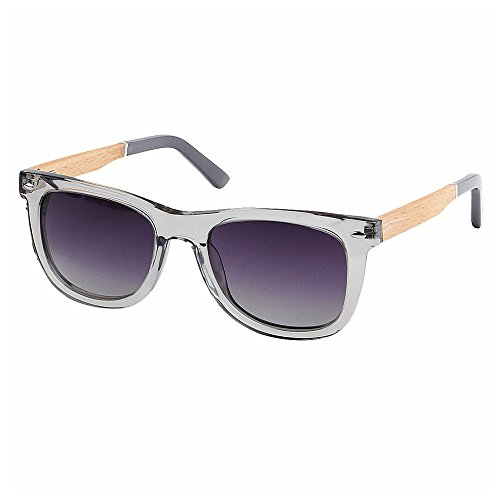 Wxx000 UV400 Bambus Sonnenbrillen, Unisex Retro Holzoptik Gläser, Classic Wood Shades Damen Herren (Color : Gray)