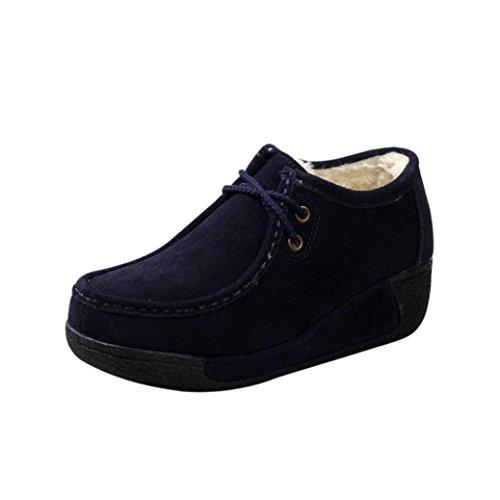 Women Boots Shoes, SOMESUN Il tallone dell'alto tallone di modo delle donne merletta i pattini della piattaforma delle signore delle scarpette (35, giallo)